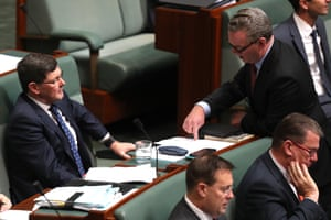 The leader of the House Christopher Pyne talks to the member for Menzies Kevin Andrews