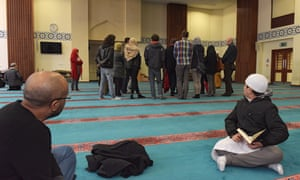 Visitors inside East London Mosque