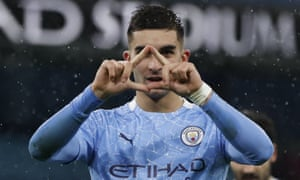 Manchester City's Ferran Torres celebrates after scoring his side's second goal.