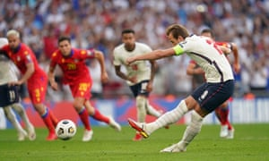 England's Harry Kane scores their side's second goal.