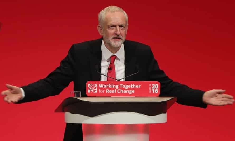 Labour leader Jeremy Corbyn addresses delegates and members at the party conference last year.