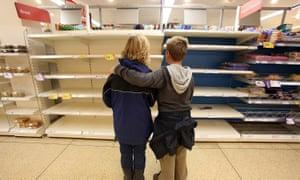 Empty shelves in a supermarket in Tewkesbury.