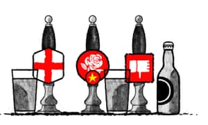 """Illustration by David Foldvari of beer taps with a St George's flag, white rose and a Facebook thumbs down """"dislike"""" logo"""