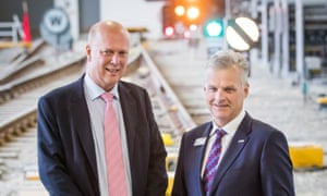 Chris Grayling, with Mark Carne of Network Rail, at the launch of the digital railway strategy in York.