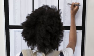 Female college student checking test results on bulletin