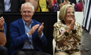 Malcolm Turnbull and wife Lucy Turnbull watch in Sydney on Saturday.