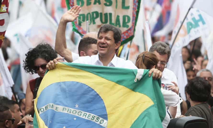 Fernando Haddad at a rally in Sao Paulo on Saturday.