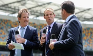 Channel Nine commentators Mark Nicholas, Shane Warne and Mark Taylor at work during the 2013 Ashes series.