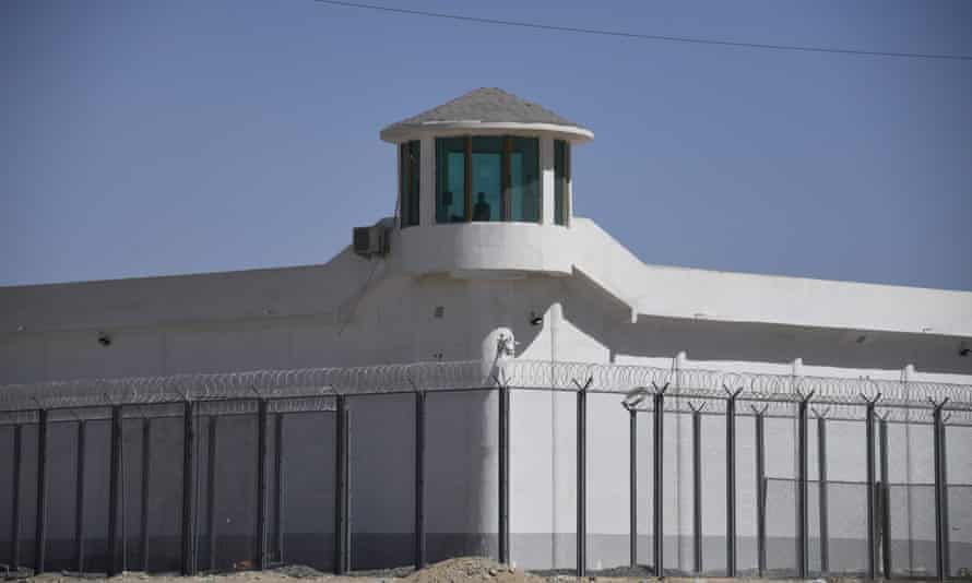 A watchtower near what is believed to be a re-education camp for Uighurs in Xinjiang