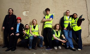 Secret agents of the anarchist group Space Hijackers who reclaim public spaces and put back benches which have been removed. L to R: Alan Ford, Agent Zargof, Agent Bristly Pioneer, Agent Ladybird, The Jewk, November, El Miguel, Patelaneeta.