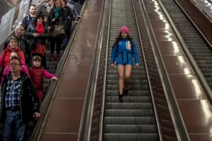 A woman wearing no pants participates in the 'No Pants Subway Ride' in Prague, Czech Republic