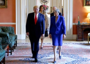 Donald Trump and the first lady, Melania Trump, with Theresa May inside 10 Downing Street