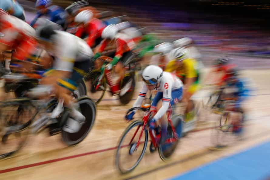 Laura Kenny (centre) competes in the women's elimination race at the UCI track cycling world championships in Berlin last year.