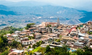 Aerial view of Zaruma, a town in the Andes, Ecuador.
