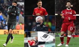 Álvaro Morata, Nemanja Matic, Mohamed Salah, a Swansea City fan and Alan Pardew.