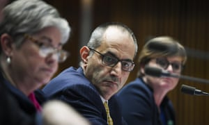 Home affairs secretary Mike Pezzullo gives evidence about the Paladin contract at Senate estimates on Monday.