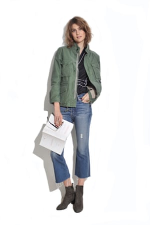STUDY DAY Rework your pyjama top, tucking it into jeans with a khaki jacket on top. Jacket £235 carhartt.com Jeans £110, Mother farfetch.com Boots £220 kurtgeiger.com Pyjama top (part of set) as before