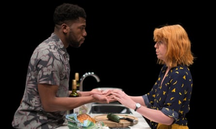 Facing catastrophe … Fehinti Balogun and Rebecca Humphries in Myth.