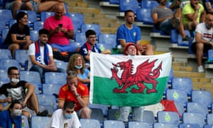italy v wales - fan holds up flag