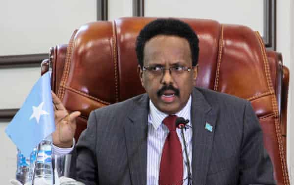 Somalia president Mohamed Abdullahi Mohamed speaks in parliament in Mogadishu, Somalia, 6 February 2021.