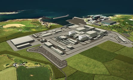 An artist's impression of the proposed nuclear power station at Wylfa on Anglesey, north Wales.