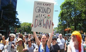 Women's march to protest Trump's inauguration down Park St on 21 January 2017 in Sydney