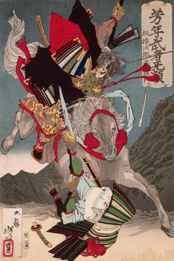 Masakado on horseback bowling over a foot-soldier, by Yoshitoshi