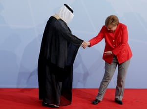 Merkel and Saudi Arabia's former finance minister Ibrahim al-Assaf at the official reception on the opening day of the G20 summit