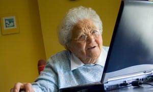 old lady using laptop
