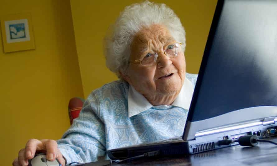 Older woman on laptop.