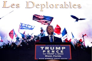 Donald Trump with his 'Les Deplorables' banner.