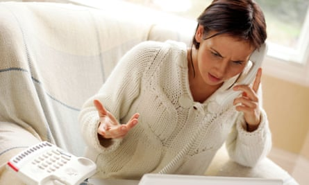 Woman complaining on phone
