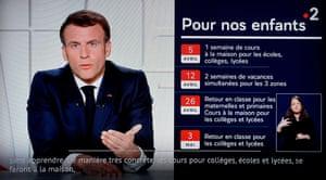Emmanuel Macron delivering a televised address on Covid-19 restrictions.
