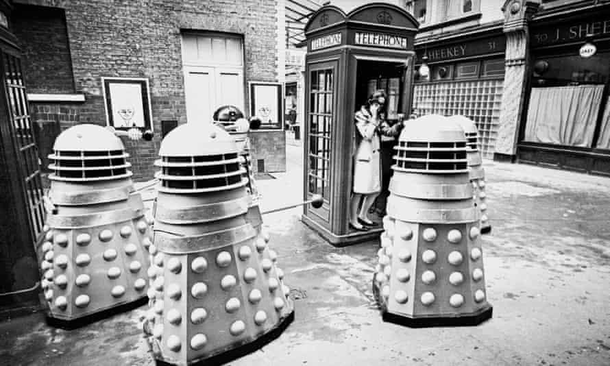 Daleks invade a London street, outside Wyndams Theatre in 1965.