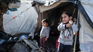 Refugee children on the outskirts of Moria camp.