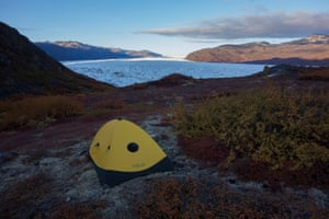 'To be dropped and picked at the most westerly of the three glaciers [Eqalorutsit] by helicopter, camping with the soundtrack of the sounds of the glacier was my favourite time out there,' Neudecker says. While there an earthquake hit that area of Greenland and the tents shook in the middle night.