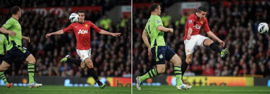 Van Persie volleys in his second goal against Aston Villa at Old Trafford
