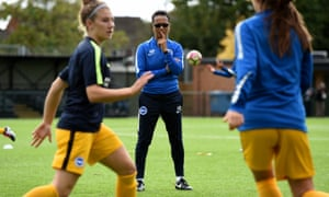 Hope Powell watches her Brighton side prepare to take on Millwall Lionesses. Powell was sacked by England in 2013 and says Brighton 'just felt right' for her return.