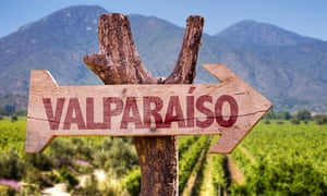 Valparaiso wooden sign with winery background