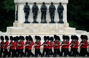 Guardsmen prepare on Horse Guards Parade for the trooping the colour ceremony