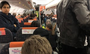 The scene inside a plane, diverted from Gatwick airport, three hours after it landed in Manchester