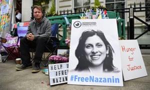 Richard Ratcliffe, the husband of imprisoned Nazanin Zaghari-Ratcliffe, outside the Iranian embassy in London