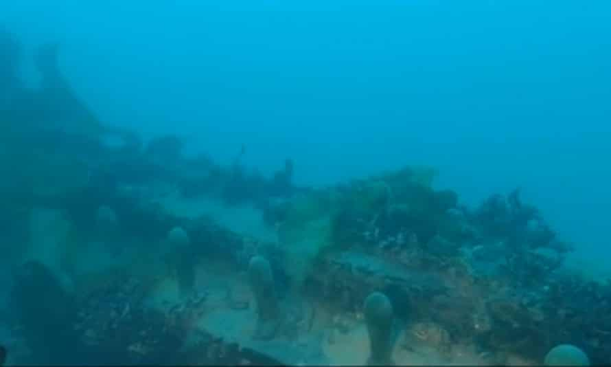 An image from the deck of the wreck of HMS Terror as it lies on the seabed.