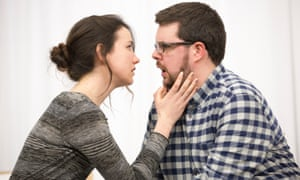 Rehearsals for The Devil Inside: Ben McAteer as James, and Rachel Kelly as Catherine – 'the one who sorts out the mess and the one who makes the ultimate sacrifice'.