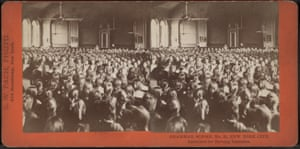 Pupils of Grammar School No 33 in New York City assembled for morning exercises.