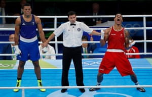 Joe Joyce of Great Britain (left) loses a split decision to Tony Yoka of France in the mens super-heavyweight boxing gold medal final