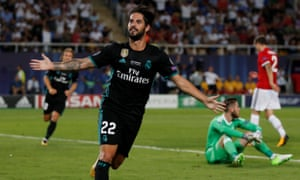 Real Madrid's Isco celebrates scoring the second goal.