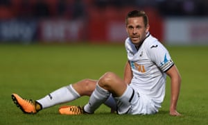 Gylfi Sigurdsson captained Swansea in the second half of a friendly at Barnet in what is likely to have been his final appearance for the club.