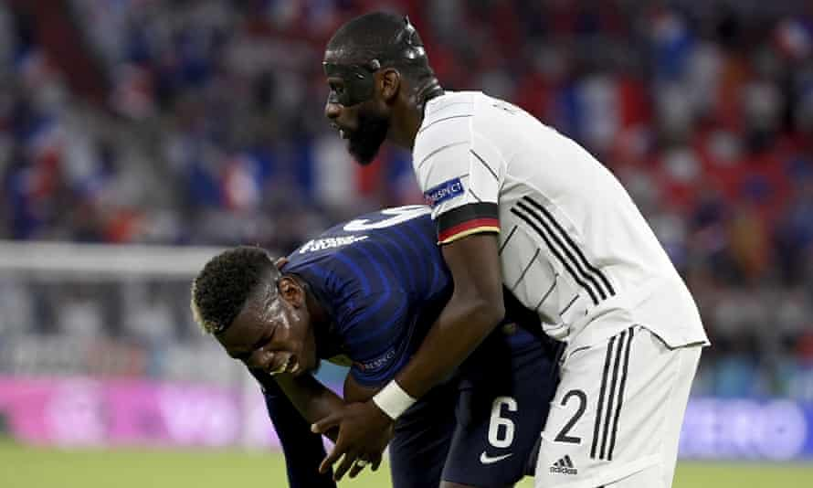 Germany's Antonio Rüdiger with Paul Pogba during France's win in Tuesday's Euro 2020 match