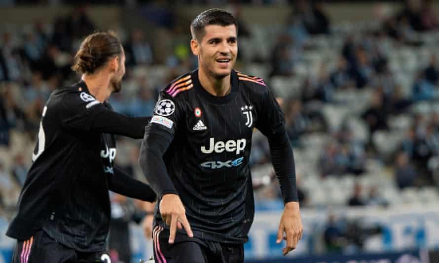 Álvaro Morata celebrates scoring Juventus's third goal in the Turin side's away victory over Malmö
